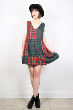 Vintage 90s Dress Grunge Dress Patchwork by ShopTwitchVintage #vintage #etsy #90s #1990s #babydoll #mini #dress #grunge #plaid #jumper