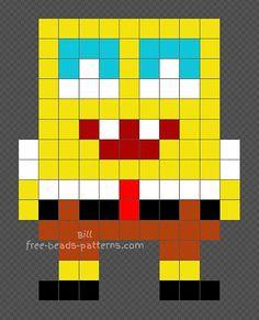 Spongebob perler beads pattern 11x14 Easy Perler Bead Patterns, Perler Bead Templates, Diy Perler Beads, Perler Bead Art, Pearler Beads, Fuse Beads, Minecraft Beads, Creeper Minecraft, Minecraft Cake