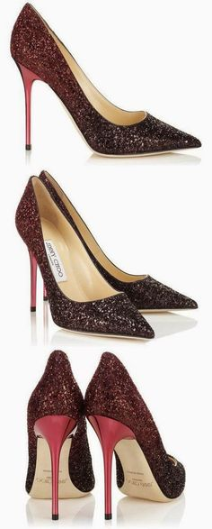 Jimmy Choo ~  Abel Coarse Degrade Glitter Pointy Toe Pumps, Black and Tourmaline