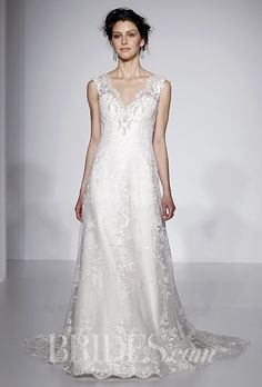 A V-neck @maggiesottero wedding dress with a natural waist | Brides.com