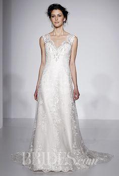A V-neck @maggiesottero wedding dress with a natural waist | Brides.com