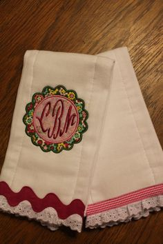 Personalized and appliqued burp cloth set by AppliquesByGranjan, $20.00