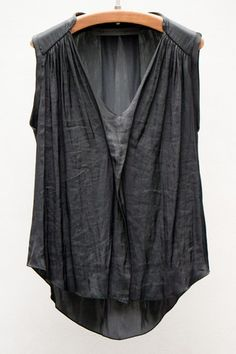 Raquel Allegra Black Liquid Satin Sleeveless Blouse