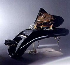 One of my favorite designs by Colani. The piano body is connected to the seat so that the vibrations of the music can come back to the player, fully immersing them in the sounds. Pegasus Schimmel Grand Piano by Luigi Colani. I Love Music, Sound Of Music, Music Is Life, The Piano, Mike Brand, Luigi, Colani Design, Piano Digital, Mundo Musical