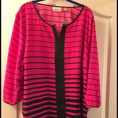"Avenue Pink and Black Striped Blouse 26/28 Professional blouse, hits at the hip on a 5'7"" model. Vibrant colors. Brand new with tags. Avenue Pink and Black Striped Blouse 26/28 Avenue Tops Blouses"