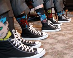 Groomsmen with superhero socks and converse- im not sure about the converse, but the socks are a brilliant idea to add to a subtle superhero theme Groomsmen Wedding Shoes, Wedding Converse, Groom And Groomsmen Attire, Bridesmaids And Groomsmen, Groomsmen Socks, Outfits With Converse, Converse Shoes, Cheap Converse, White Converse