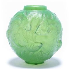 René Lalique  'Formose' a Vase, design 1924  green and opalescent glass, frosted and heightened with staining  17cm high, engraved 'R. Lalique France no. 934'