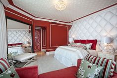 red bedroom decorating ideas | Eclectic Red Bedroom Designed by DKOR Interiors Inc. .