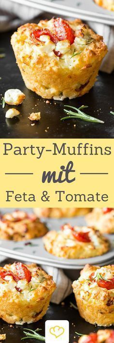 The eye-catcher on your party buffet: tomato feta muffins # .- The eye-catcher on your party buffet: tomato-feta muffins The eye-catcher on your party buffet: tomato-feta muffins! Because muffins can also be hearty! Pizza Recipes, Grilling Recipes, Appetizer Recipes, Cooking Recipes, Snacks Recipes, Party Recipes, Bread Recipes, Party Finger Foods, Snacks Für Party