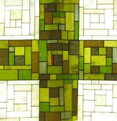 9 patch cross quilt in progress, (photo of patchwork quilt top hanging in window). Quilt Block Patterns, Pattern Blocks, Quilt Blocks, Hand Quilting, Machine Quilting, Modern Quilting, Stained Glass Quilt, Cross Quilt, Contemporary Quilts