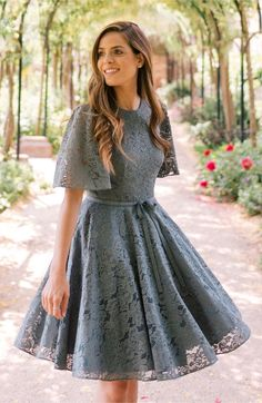 Tonal lace details gracefully cover the Harper dress from top to bottom. The fit and flare shape and belted waistline create an elegant silhouette. Lace Outfit, Dress Outfits, Short Lace Dress, Short Sleeve Dresses, Fall Dresses, Casual Dresses, Dress Brokat, Fit N Flare Dress, Fit And Flare