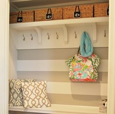 TOTALLY doing this with the entryway closet. This space used to be a typical hall closet, now it's a mini-mudroom! Front Closet, Hallway Closet, Closet Shelves, Front Hallway, Attic Closet, Bathroom Closet, Front Entry, Front Doors, Storage Shelves