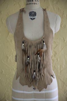 f4d6ea5fcf Vtg 60s 70s Women s Tan Beige Suede Leather Halter Top Boho Hippie Festival  Coachella Feather Fringe Beads