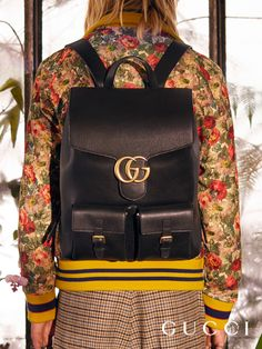 The GG Marmont backpack from Gucci Pre-Fall 2016, crafted in soft, textured leather with adjustable straps and GG hardware.