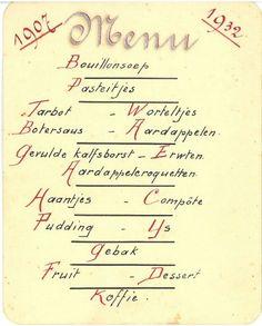 Menukaart uit het archief 2038 Parochie Sint Petrus'Stoel in Antiochië Boxtel