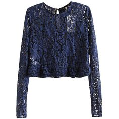 Navy Blue Womens Sexy Crew Neck Long Sleeve Lace Crop Top (170 HKD) ❤ liked on Polyvore