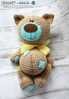 crochet toy teddy cat kitty with patches