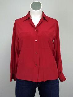 YSL Yves Saint Laurent 14 Red Silk Shirt 46 Button Designer Blouse Variation…