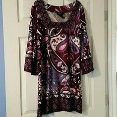 Long Sleeve Multi print Dress Alyn Paige purple multi print 3/4 sleeve dress. EUC. Juniors large or women's medium Alyn Paige Dresses Long Sleeve