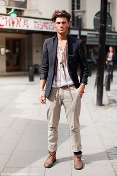 Wrinkled Khakis, Navy Linen Blazer, Worn in Boots, and Eclectic accessories. Preppy meets Johnny Depp in this Spring/Summer Street Style. #streetstyle #urban #men #forhim #styleforhim #menfashion #urban #citystyle #citylife