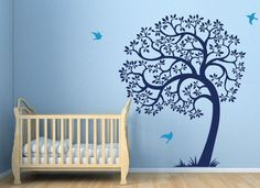 Tree wall decal. Birds and large tree wall decal sticker blue Nursery Decal baby boy playroom tree wall decal
