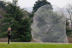 'irma' by jaume plensa at the yorkshire sculpture park in wakefield, england