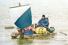 Marcus Eriksen rowed and pedaled this bottle catamaran made of recycled materials all the way down the Mississippi in 2003.