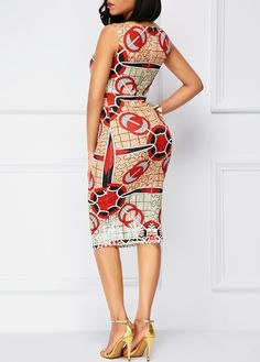 Sleeveless Printed Zipper Back Sheath Dress on sale only US$32.70 now, buy cheap Sleeveless Printed Zipper Back Sheath Dress at liligal.com