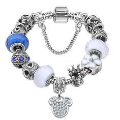 European 925 Silver Mickey Pendants Murano Beads Crown Charm Bracelets