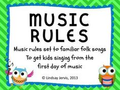 Music classroom rules - 5 rules that all start with a letter to spell the word MUSIC, each with a corresponding song