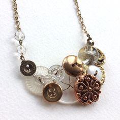 Fancy Vintage Button Statement Necklace - Brass and Glass Sparkle by buttonsoupjewelry on Etsy