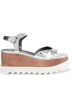 Heel measures approximately 85mm/ 3.5 inches with a 55mm/ 2 inches platform Silver faux leather Buckle-fastening ankle strap Made in Italy