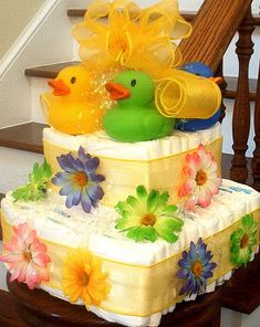 baby diaper cake. Has possibilities for gift basket idea.