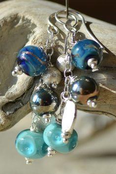 Longues boucles d'oreilles bleues et turquoises et argent 925°°° : Boucles d'oreille par reve-de-perles