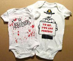 Lil Ass Kicker Onesie Walking Dead Daryl Dixon Baby Bodysuit Creeper Zombies Horror Judith Rick Grimes Blood Splatter Optional. $16.00, via Etsy.