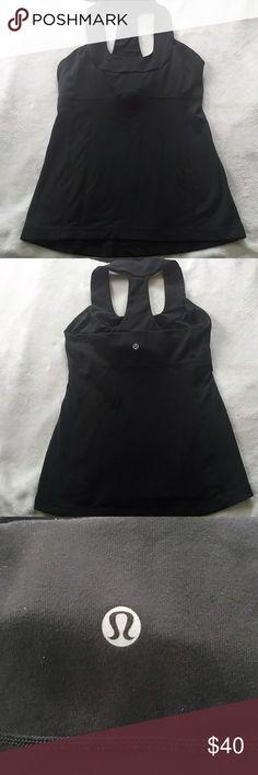 Lululemon Scoop Neck Tank Black scoop neck tank top from Lululemon. Size 6. lululemon athletica Tops