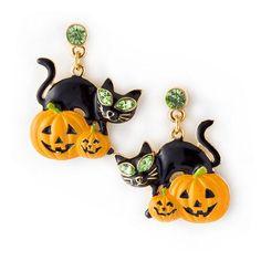 Halloween Jewelry Pumpkin Black Cat Crystal Earrings - Ad#: 2832507 - Addoway