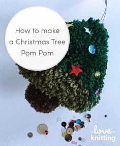 Pompoms make great wintery decorations - they look lovely hanging from a Christmas tree. Quickly whip up a selection of charming trees with Sew Yeah! Crochet Christmas Trees, Ribbon On Christmas Tree, Cute Christmas Gifts, Christmas Makes, Christmas Knitting, Christmas Tree Toppers, Christmas Crafts, Christmas Ornaments, Christmas Ideas