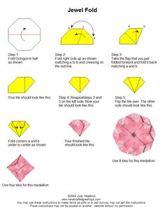 instructions for folding octagon tiles - OR GO TO http://www.handcraftedgreetings.com/teabaginst.php for list of several other designs :)