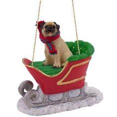 Fawn Pug Dog rides on a SLEIGH Christmas Ornament