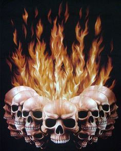 Skulls: Flaming #skulls tattoo.