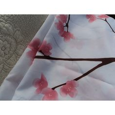 Vintage shower curtain in pink, brown, and white blossoms and branches ($15) ❤ liked on Polyvore featuring home, bed & bath, bath and shower curtains
