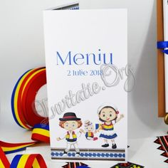 Meniu de Nunta si Botez Eveniment 2 in 1 cu Miri in Tricolor si Baietel cu Tricolor in Manuta Place Cards, Place Card Holders