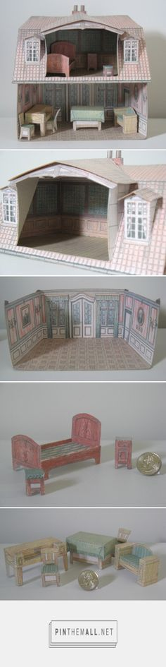 Paper Model Dollhouse | This is a trial run of a little paper dollhouse that is made of ink-jet printouts fused to cracker and cereal box cardboard. The dollhouse was originally published in Illustretet Family Journal in the first part of the 20th century. | The downloads for printing the dollhouse can be found here: https://www.flickr.com/photos/taffeta/sets/72157614068345415/detail/ - previous pinner -