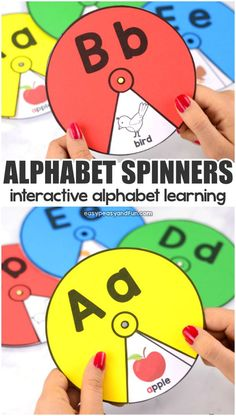 Printable Alphabet Spinners Interactive Alphabet Learning Learning Letters for Toddlers Preschool Learning Activities, Letter Activities, Preschool Printables, Preschool Classroom, Teaching Kids, Das Abc, Learning Letters, Learning Shapes, Letters Kindergarten