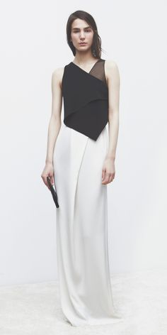 Evening Wear | 3.1 Phillip Lim | Holiday 2013 | Ivory & Black layered silk gown : Minimal + Classic