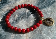 Red Bamboo Coral Mala Bracelet prayer beads rosary by LotusJewels, $14.99