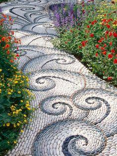 Trendy backyard landscaping with rocks pebble mosaic ideas Rock Walkway, Rock Path, Stepping Stone Walkways, Outdoor Walkway, Walkway Ideas, Stone Pathways, Stone Steps, Pebble Mosaic, Mosaic Diy