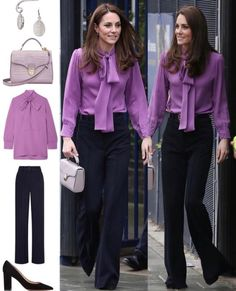 In a breakaway from her usual midi dress and coat ensemble, The Duchess wore a blouse and trousers combo, mixing high-end with high-street,… Looks Kate Middleton, Estilo Kate Middleton, Princess Kate Middleton, Kate Middleton Fashion, Business Casual Outfits, Professional Outfits, Office Outfits, Business Wear, Duchess Kate