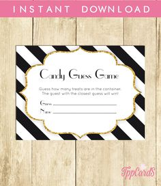 Black and White Baby Shower Candy Guessing Game, Guess How Many Candies Jelly Beans, Instant Download, Black White Candy Game 0061-BAW  by TppCardS on Etsy https://www.etsy.com/listing/268676010/black-and-white-baby-shower-candy